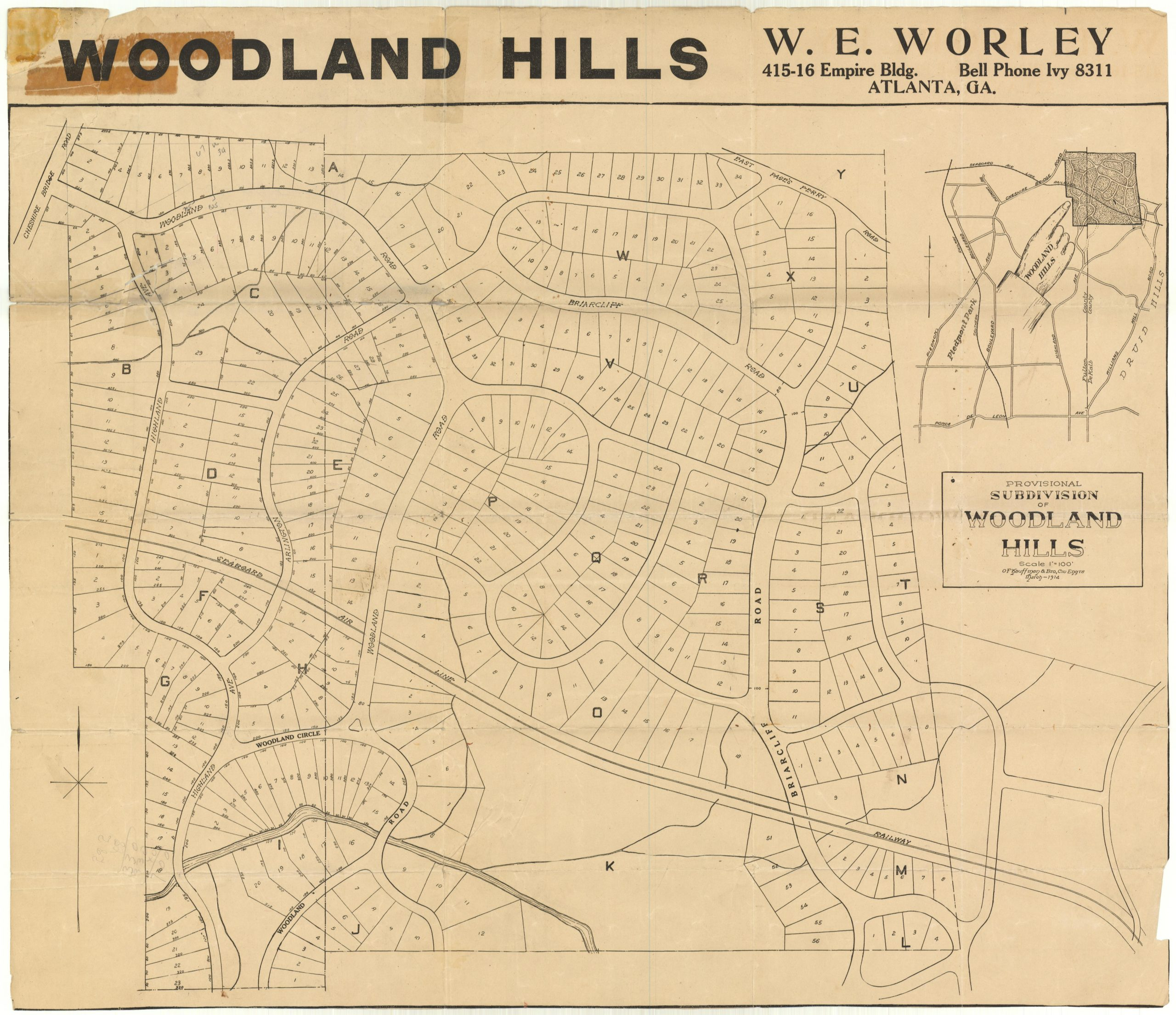 Provisional Survey of Woodland Hills Subdivision by O.F. Kauffman dated March 1914 for W. E. Worley